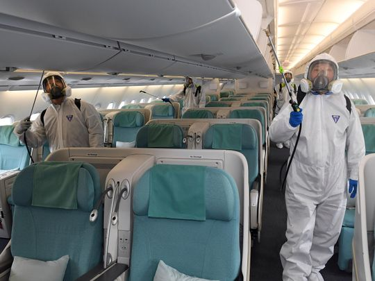 A plane being disinfected
