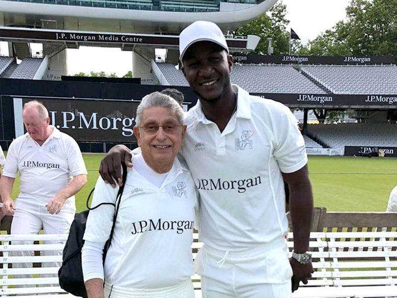 Freddy with Darren Sammy at Lord's