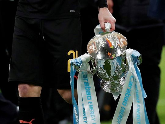 Manchester City's David Silva with the Carabao Cup