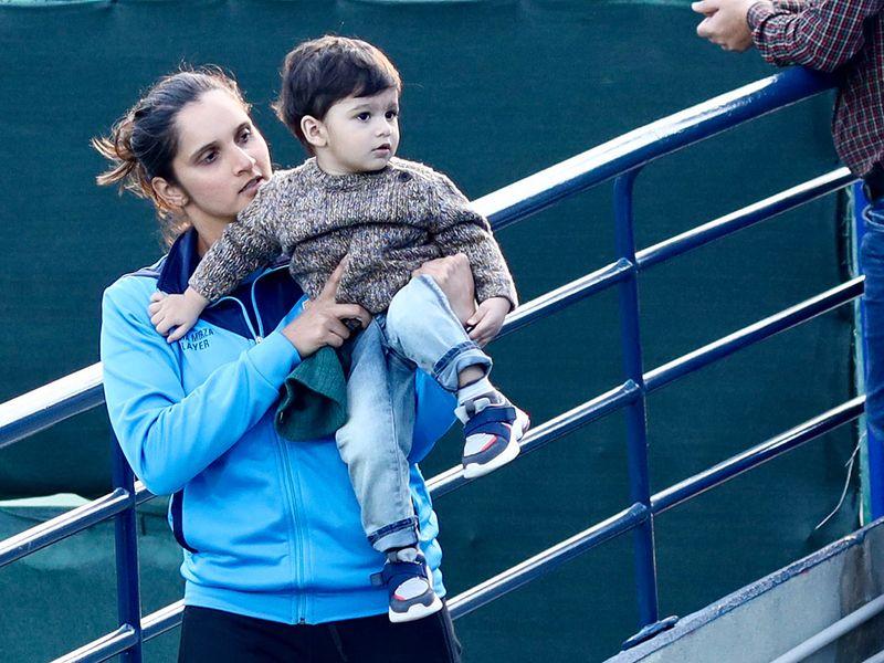 Sania Malik finds time to spend with her son Izhaan Mirza Malik at the Dubai Tennis Stadium