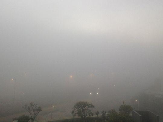 A foggy scene in Abu Dhabi.