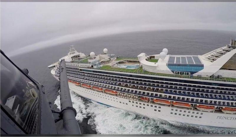 Grand Princess cruise ship off the coast of California