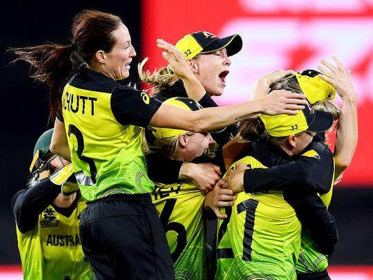 Australia's players celebrate