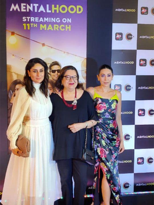 Bollywood actress Kareena Kapoor Khan (L) and Karishma Kapoor (R) with their mother Babita pose for pictures during the screening of Hindi drama web-series 'Mentalhood' in Mumbai.