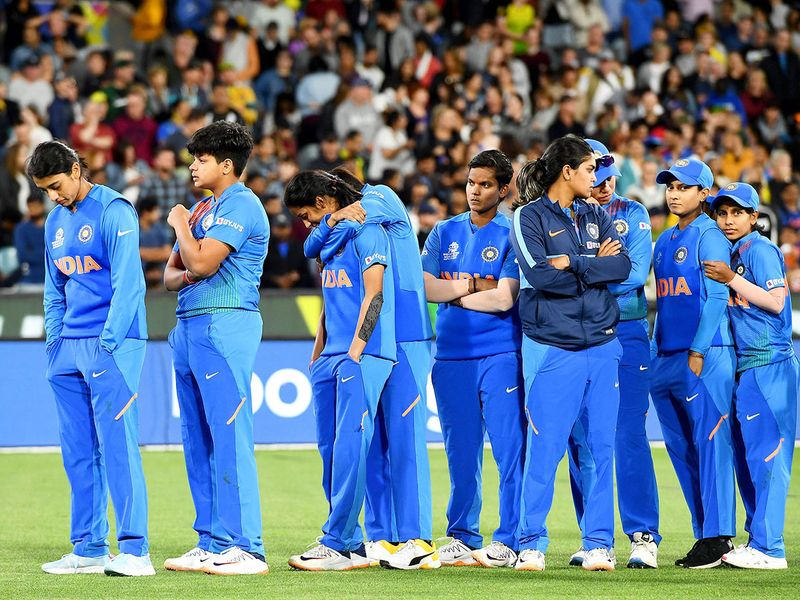 Indian players reacts after losing the final against Australia.