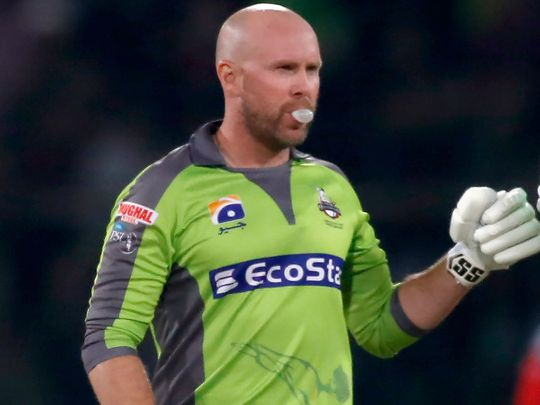 Ben Dunk celebrates after taking Qalandars to victory