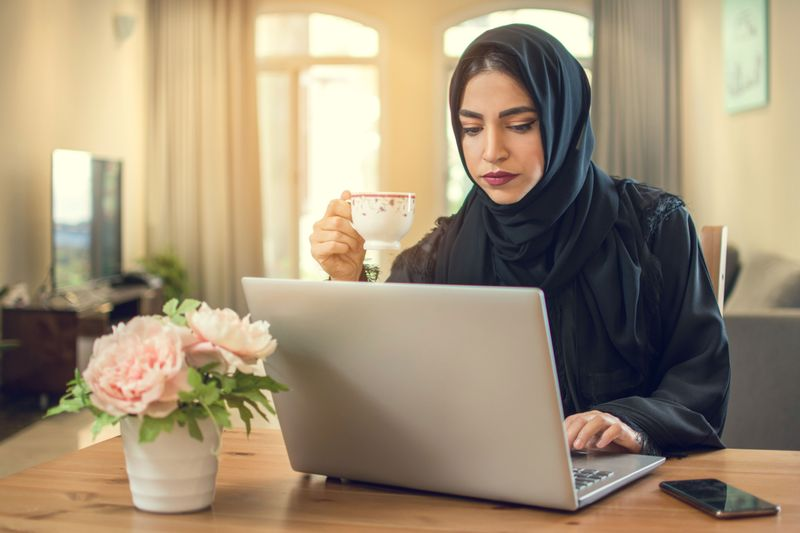 Emirati national working from home