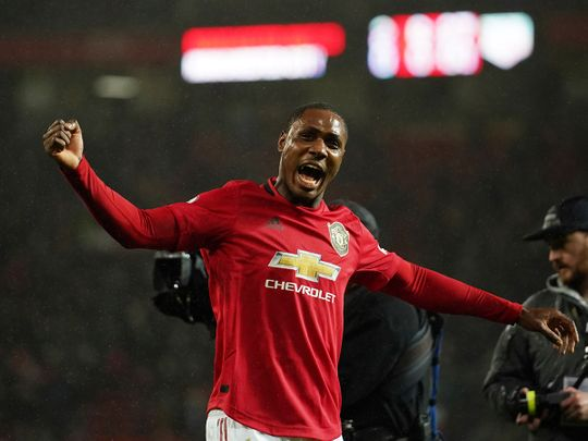 Manchester United's Odion Ighalo celebrates after the English Premier League soccer match between Manchester United and Manchester City