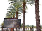 A 'Tennis Is Cancelled' sign flashes outside the Indian Wells Tennis Garden