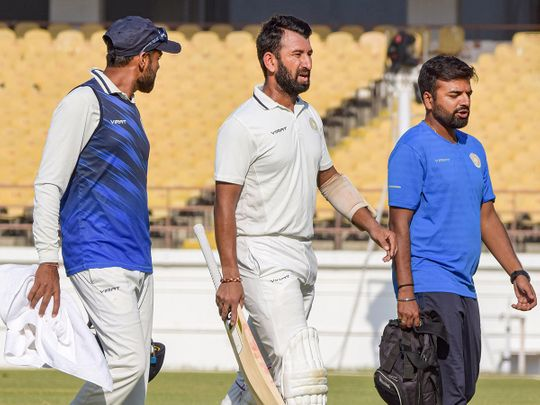 Rajkot: Saurashtra batsman Cheteshwar Pujara during Ranji Trophy final match against team Bengal, in Rajkot, Monday, March 9, 2020.(PTI09-03-2020_000144B)