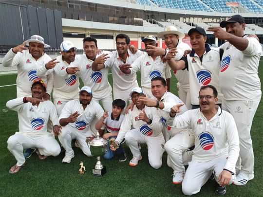 The Nad Al Sheba team that won the Dubai Cricket Council's 11th League of Mammoths title at the Sevens ground. Pic: DCC