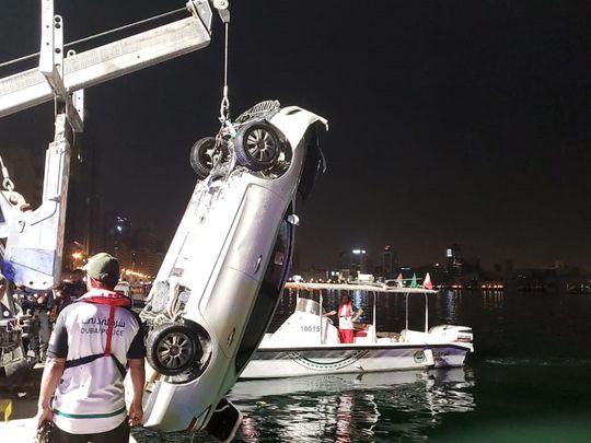 A car drove into Dubai Creek on Wednesday night