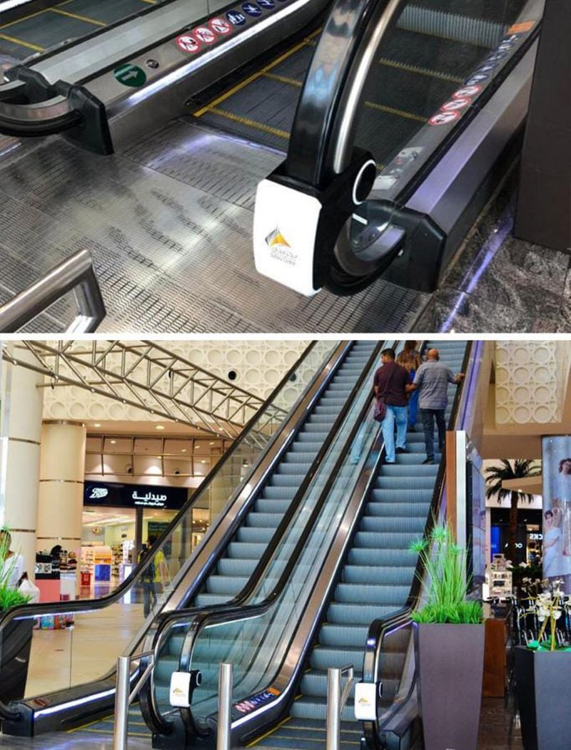 Sahara Centre in Sharjah has installed UV sterilizers on its escalators' handrails which are said to wipe out 99.99 per cent of germs on handrails through a process known as ultraviolet germicidal irradiation (UVGI).