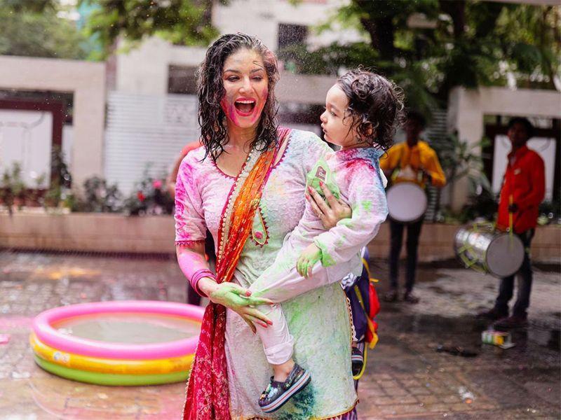 Sunny Leone celebrates Holi with husband and children