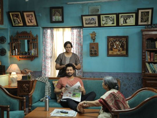 Veteran actress Sachu with Harish Kalyan and Anupama in Dharala Prabhu-1583923068894
