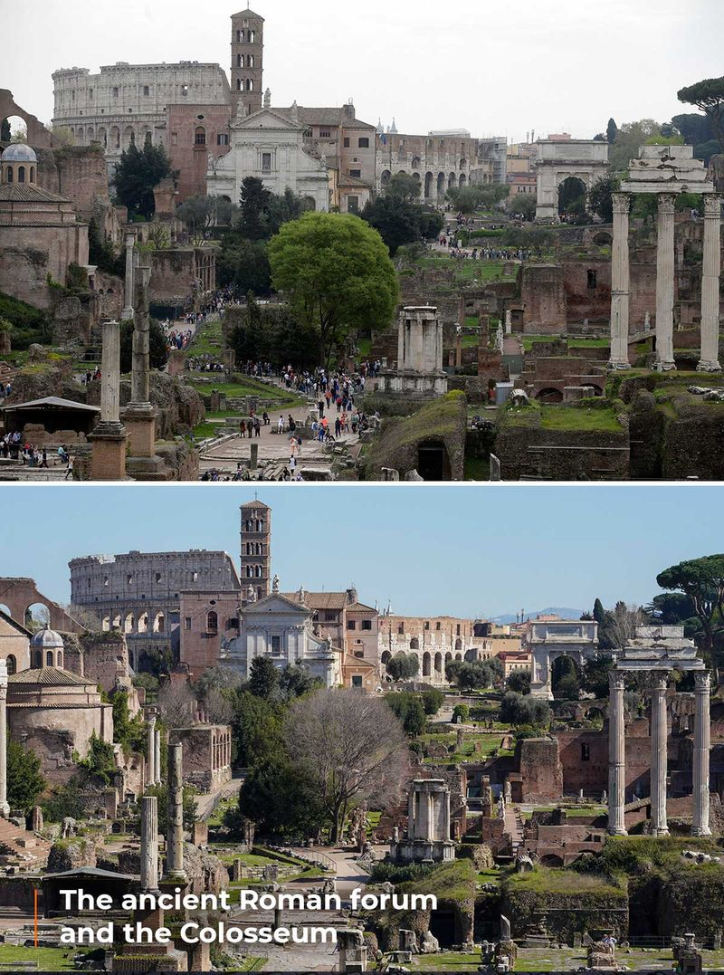 The ancient Roman forum and the Colosseum