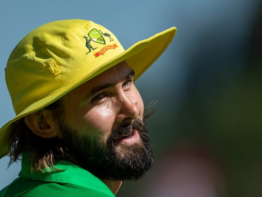 Australia's bowler Kane Richardson during the 3rd and final One Day International cricket match between South Africa and Australia at Senwes Park, Potchefstroom, South Africa, Saturday, March 7, 2020. (AP Photo/Themba Hadebe)