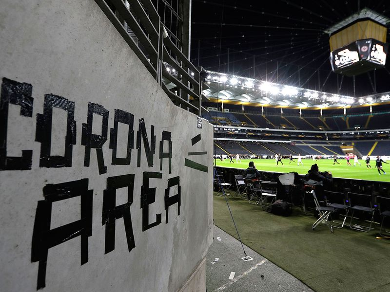 Eintracht fans have taped letters at a wall of the stadium during a Europa League round of 16, 1st leg soccer match between Eintracht Frankfurt and FC Basel in Frankfurt, Germany,