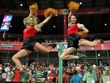 In this file photo taken on April 28, 2017, Royal Challengers Bangalore cheerleaders.  The start of the Indian Premier League, the world's most lucrative cricket competition, has been postponed from March 29 until April 15 over the coronavirus, the Indian cricket board said on March 13.