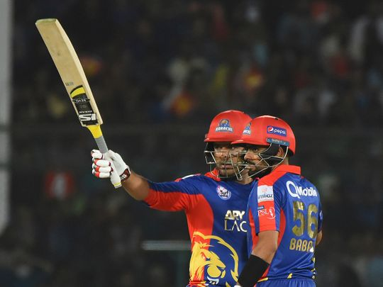 Sharjeel Khan of Karachi Kings acknowledges his fifty with partner Babar Azam