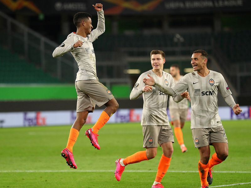 Wolfsburg v Shakhtar Donetsk  Shakhtar Donetsk's Marcos Antonio celebrates scoring their second goal with teammates