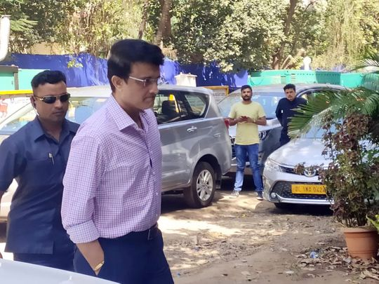 Board of Control for Cricket in India (BCCI) President Sourav Ganguly arrives at BCCI headquarters for the Indian Premier League (IPL) Governing Council meeting, in Mumbai on Saturday. (ANI Photo)