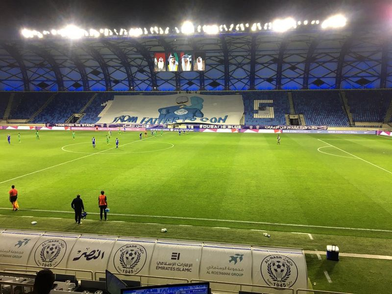 Action from the Arabian Gulf League match between Al Nasr and Khor Fakkan behind closed doors