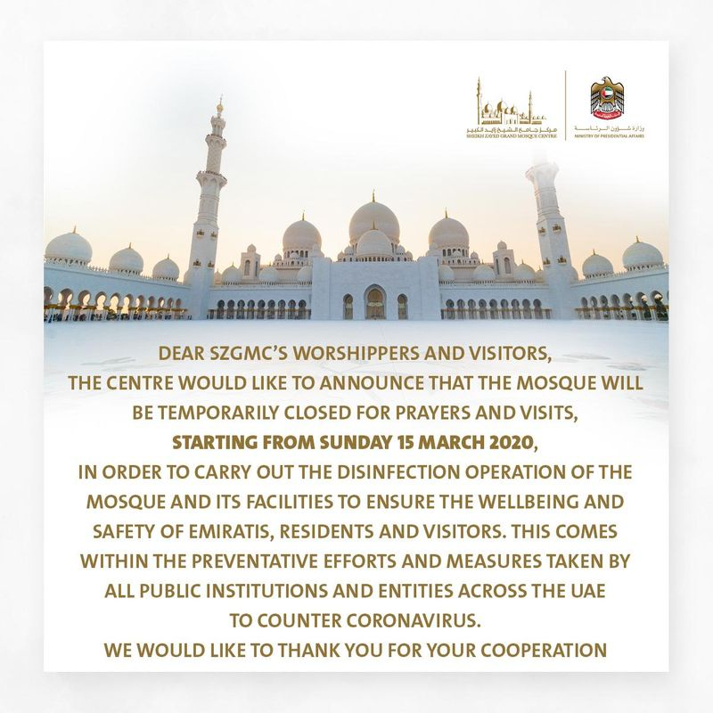 Notice from Sheikh Zayed Grand Mosque