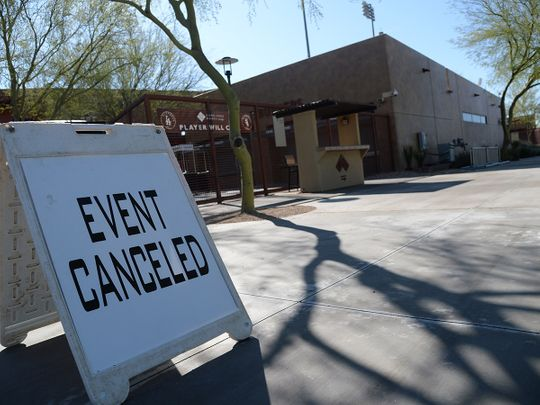 A view of Camelback Ranch following the cancellation of spring training games due to concerns over coronavirus