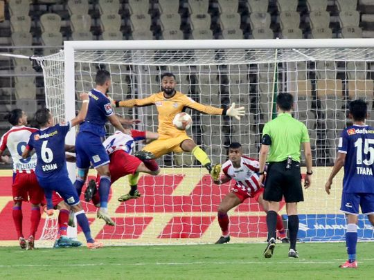 ATK and Chennaiyin FC in action during the ISL Finals at Jawaharlal Nehru Stadium, in Fatorda