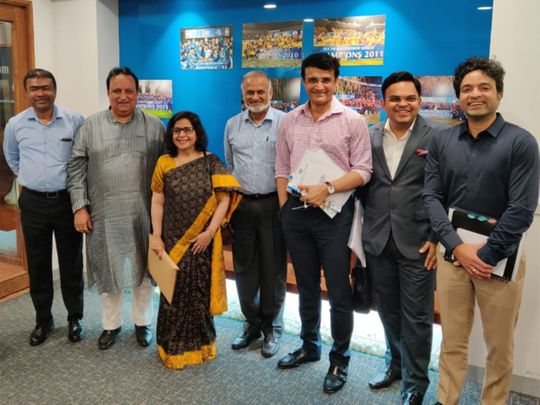 Indian Premeir League Governing Council members after the meeting at the BCCI Headquarters in Mumbai on Friday. Surinder Khanna (second from left) with IPL chairman Brijesh Patel, BCCI president Sourav Ganguly and secretary Jay Shah.