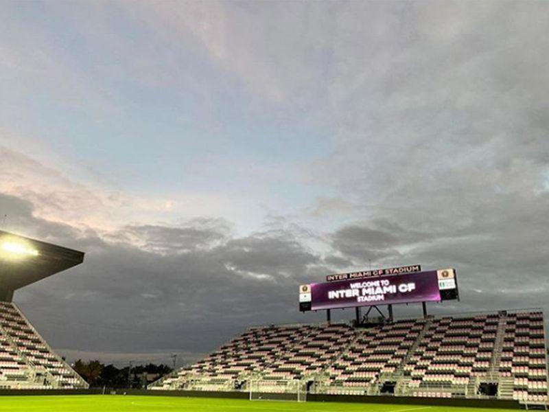 The empty stadium in Miami