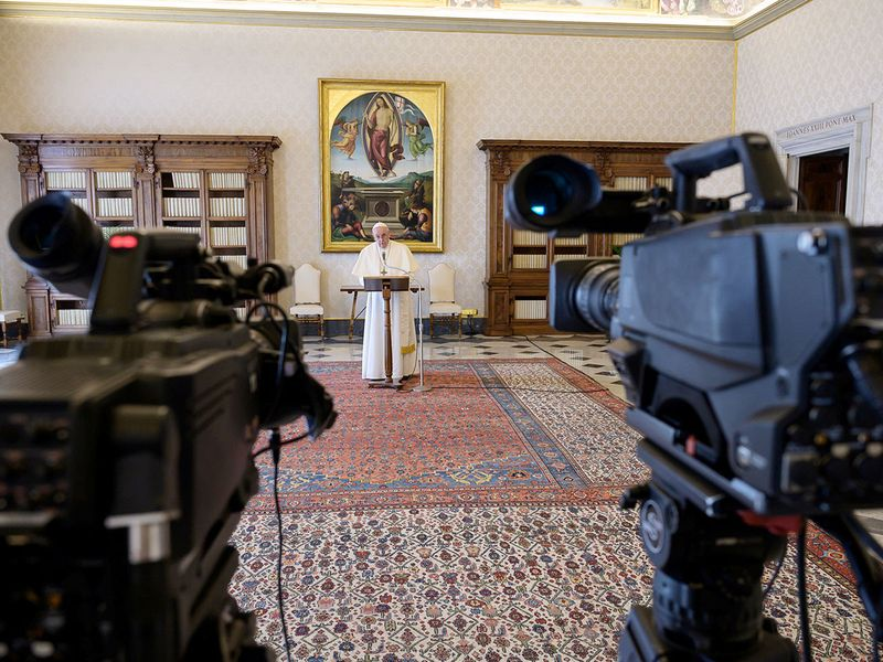 Pope Francis delivers the weekly Angelus prayer via video at the Vatican