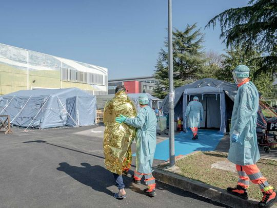 Tents outside a hospital in Brescia, Italy,