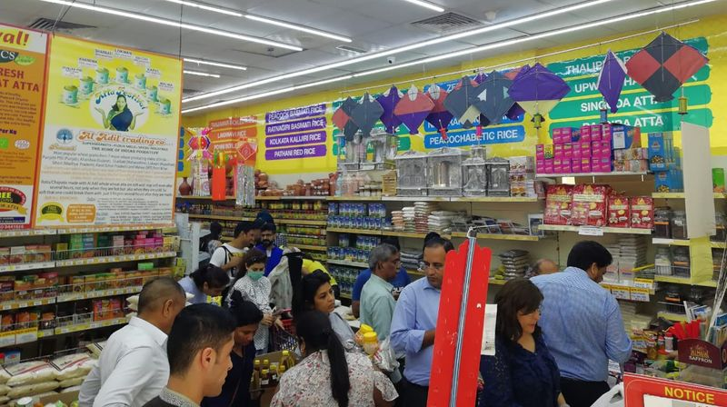 A view of shoppers stocking up in Al Adil on Monday night, March 16