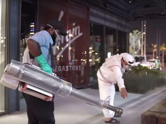 Cleaning Dubai streets during coronavirus outbreak