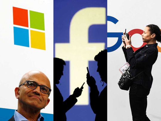 US tech giants microsft facebook google