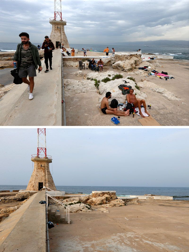 Men gathered at a beach in Beirut last week and the same place today.