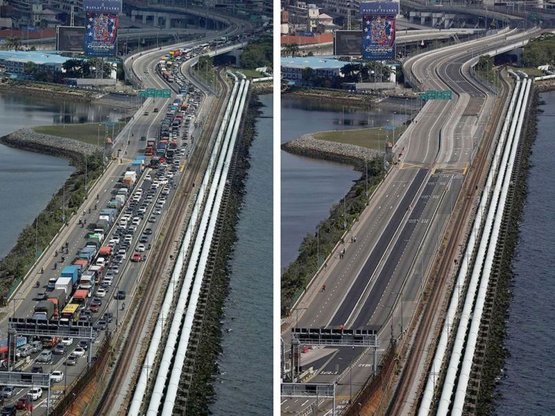 The Woodlands Causeway between Singapore and Malaysia, before (L) and after Malaysia imposed a lockdown on travel.