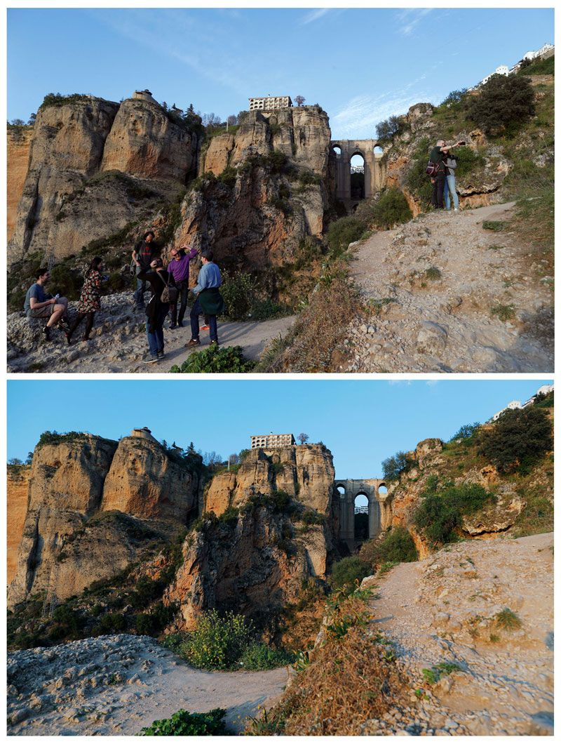 Tourists standing in front of the 'Puente Nuevo' (New Bridge) in downtown Ronda, Spain last week and the same place today.