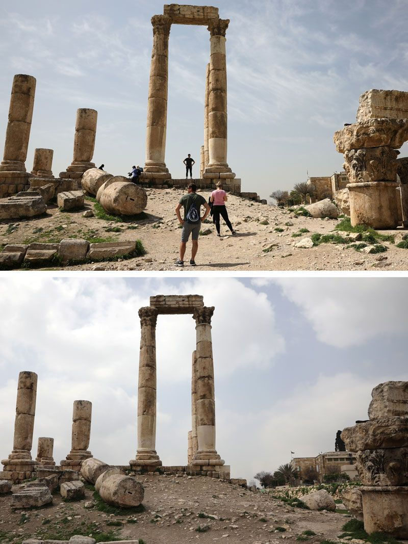 Tourists visiting the pillars of the Roman Temple of Hercules at the Amman Citadel, in Amman, Jordan last week and the same place today.