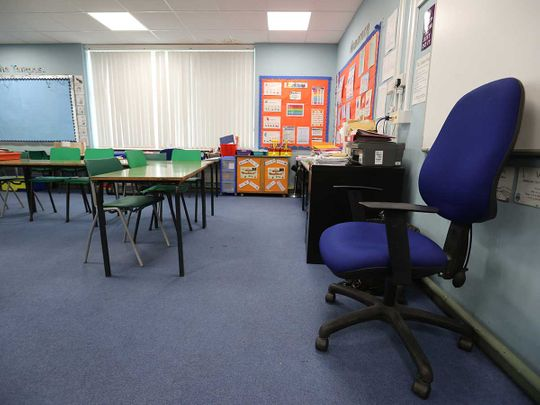 empty classroom in Staffordshire