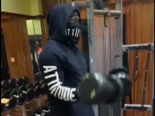 Chris Gayle works out in his video