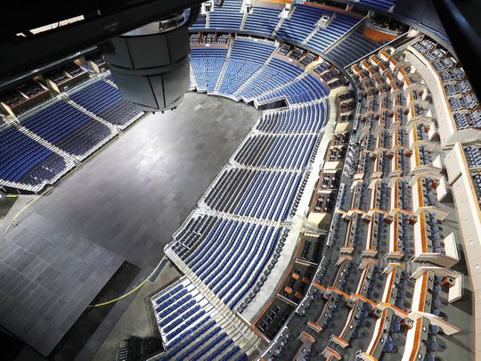The empty Amway Center in Orlando, home of the NBA's Orlando Magic. The NBA has suspended the season due to the coronavirus