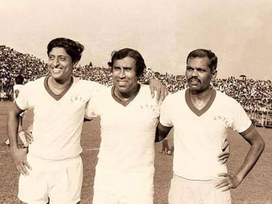 PK Banerjee, centre, with fellow India strikers Chuni Goswami and Tulsidas Balaram