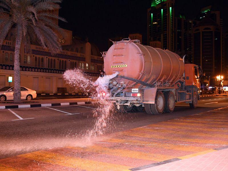 Sharjah Municipality sanitise streets