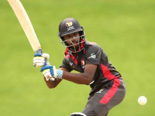 The UAE's promising 17-year-old wicketkeeper-batsman Vriitya Aravind  in action for the UAE national team.