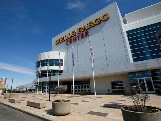 The Wells Fargo Center, home of the Philadelphia 76ers NBA basketball team, is deserted