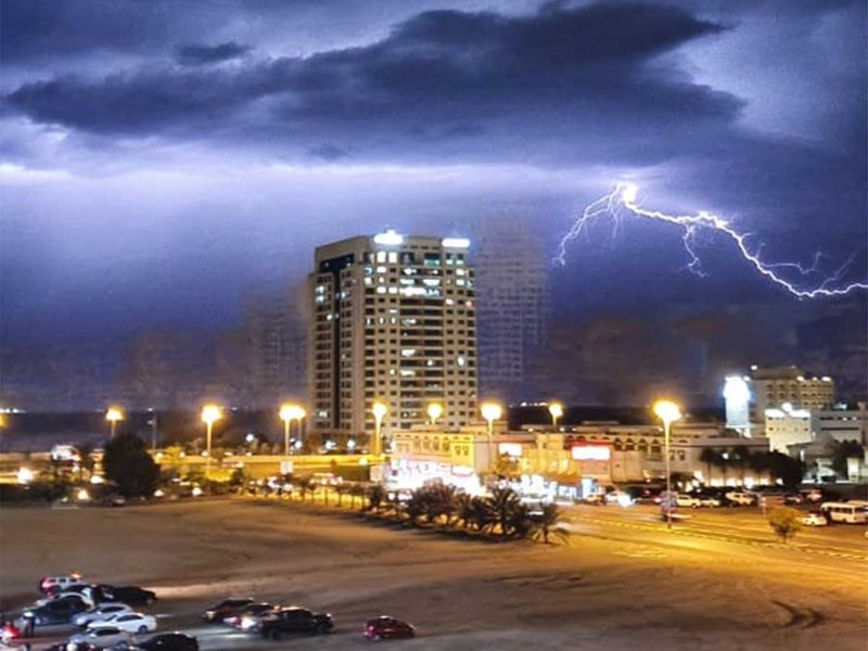 Lightning lights up the night sky above the UAE on Saturday.