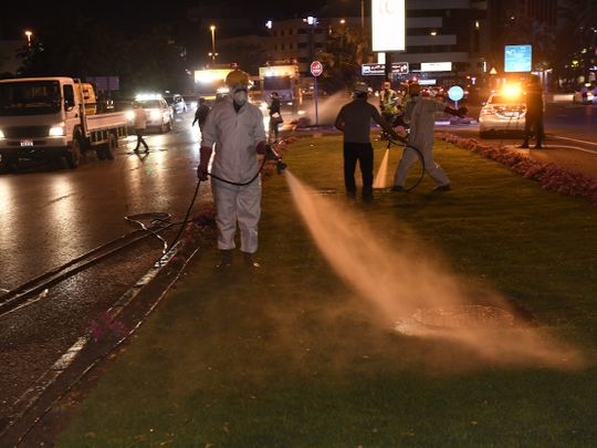 Street cleaning gets underway in Dubai